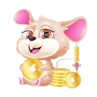 Simpatico personaggio dei cartoni animati di kawaii del mouse.