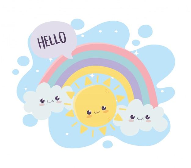 Simpatico personaggio dei cartoni animati di kawaii di sole nuvole arcobaleno ciao