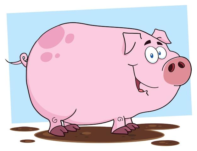 Simpatico personaggio dei cartoni animati di maiale