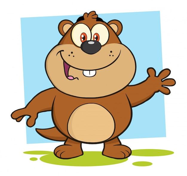 Simpatico personaggio dei cartoni animati di marmotta mascotte agitando