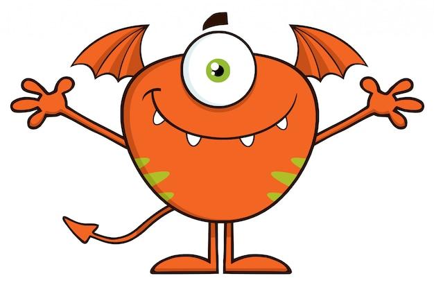 Simpatico personaggio dei cartoni animati di mostro a braccia aperte