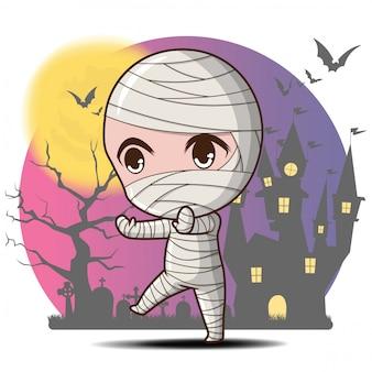 Simpatico personaggio dei cartoni animati di mummia halloween