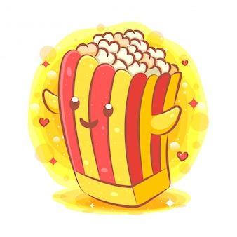 Simpatico personaggio dei cartoni animati di pop corn kawaii