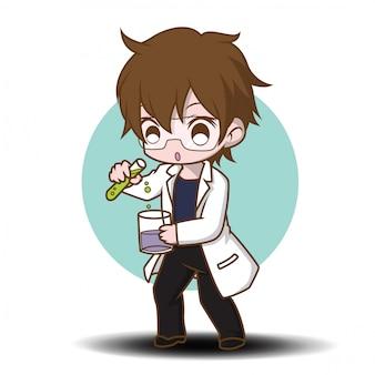 Simpatico personaggio dei cartoni animati di scienziato