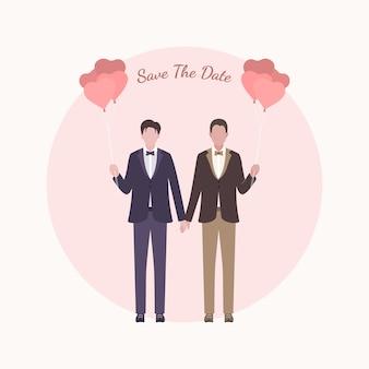 Simpatico personaggio dei cartoni animati di sposi lgbt per la carta di nozze invito.