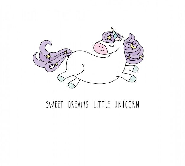 Simpatico personaggio dei cartoni animati di unicorno.