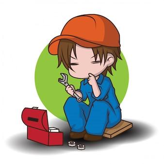 Simpatico personaggio dei cartoni animati meccanico., concetto di lavoro.