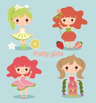 Simpatico personaggio dei cartoni animati ragazza fruttato