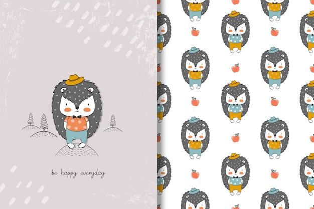 Simpatico personaggio dei cartoni animati riccio. carta animale disegnata a mano, senza cuciture