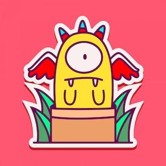 Simpatico personaggio dei mostri doodle design