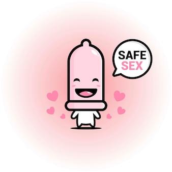 Simpatico personaggio del preservativo