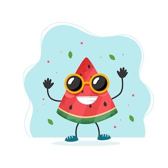 Simpatico personaggio di anguria. design estivo colorato.