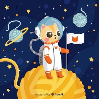 Simpatico personaggio di astronauta gatto con design piatto