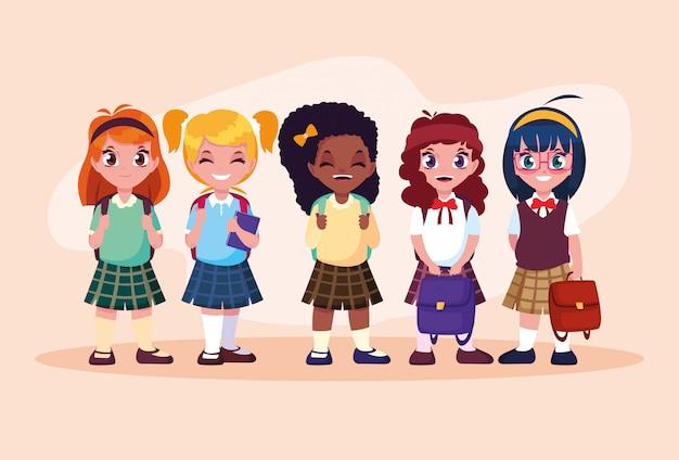 Simpatico personaggio di avatar ragazze studentessa