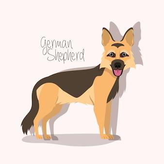 Simpatico personaggio di cane pastore tedesco