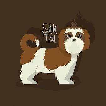 Simpatico personaggio di cane shistzu