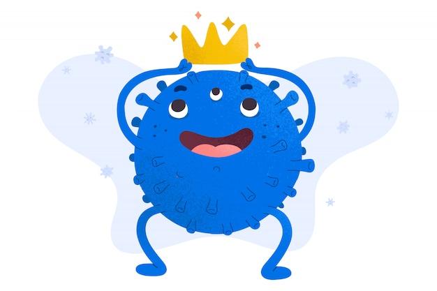 Simpatico personaggio di coronavirus che tiene una corona