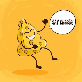 Simpatico personaggio di formaggio con faccia buffa o espressione e dire formaggio lettering sull'arancia