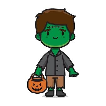 Simpatico personaggio di halloween costume frankenstein personaggio dei cartoni animati