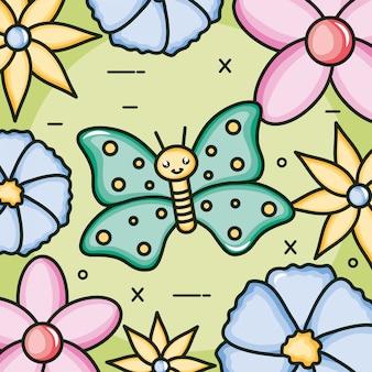 Simpatico personaggio di kawaii insetto farfalla