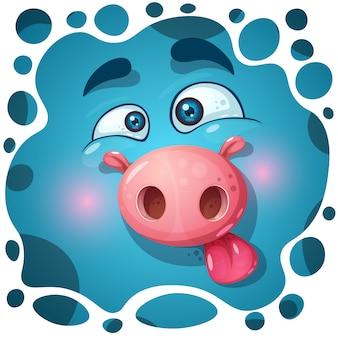 Simpatico personaggio di maiale mostro