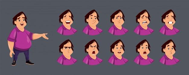 Simpatico personaggio di ragazzo grasso con varie emozioni facciali