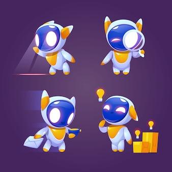 Simpatico personaggio di robot in diverse pose