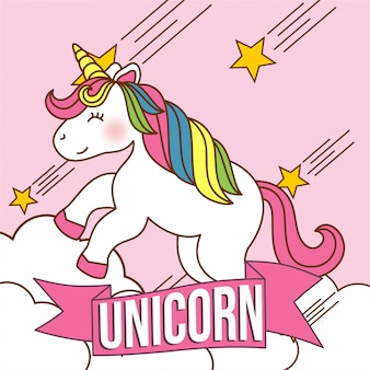 Simpatico personaggio di unicorno kawaii con colori rosa e arcobaleno