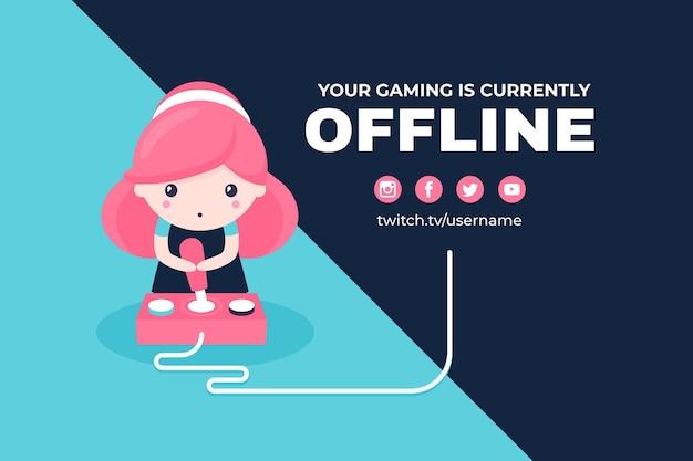Simpatico personaggio femminile sul banner twitch