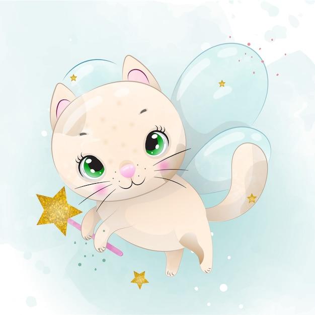 Simpatico personaggio gattino del bambino dipinto con acquerello