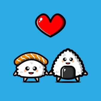 Simpatico personaggio giapponese di sushi e onigiri