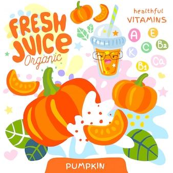 Simpatico personaggio kawaii in vetro organico con succo fresco. stile divertente dei bambini della vitamina succosa astratta delle verdure della spruzzata. tazza di frullati squisiti vegetali di zucca. illustrazione.