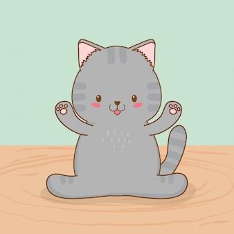 Simpatico personaggio kawaii piccolo gatto