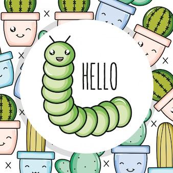 Simpatico personaggio kawaii piccolo verme