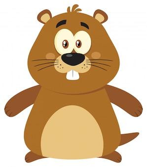 Simpatico personaggio mascotte dei cartoni animati di marmotta