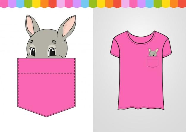 Simpatico personaggio nella tasca della camicia. coniglio coniglio animale.