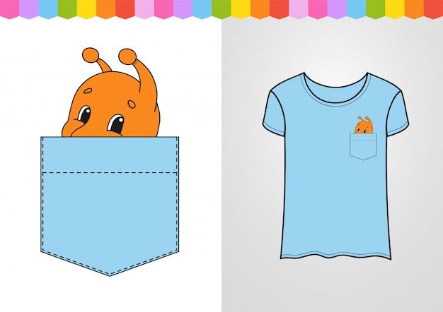 Simpatico personaggio nella tasca della camicia. mollusco di lumache.