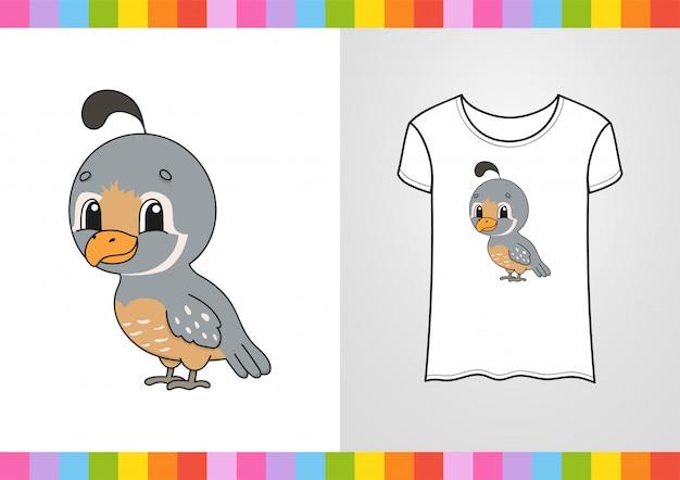 Simpatico personaggio sulla maglietta. illustrazione colorata.