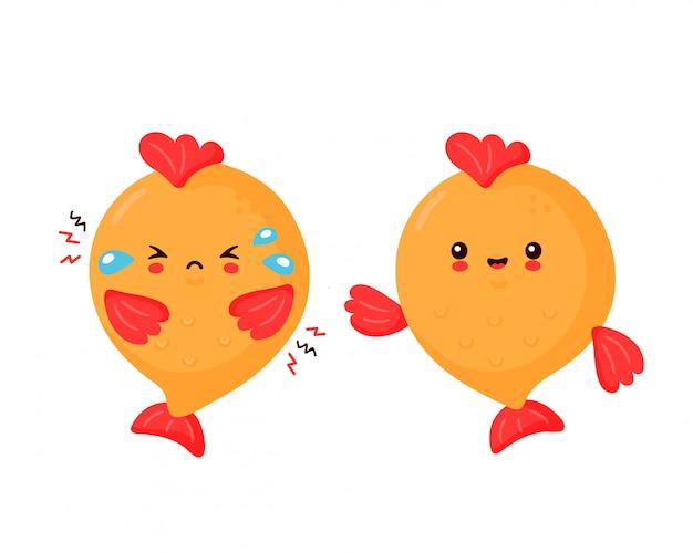 Simpatico pesce divertente felice e triste. progettazione dell'illustrazione del personaggio dei cartoni animati di vettore. isolato