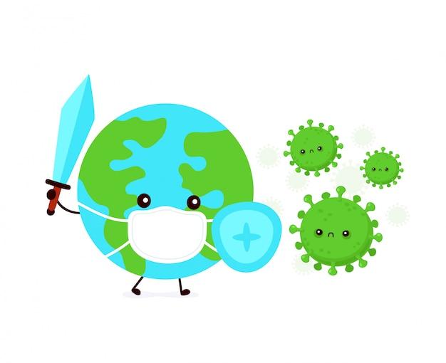 Simpatico pianeta terra in lotta maschera con infezione da coronavirus. illustrazione di personaggio dei cartoni animati di stile piano