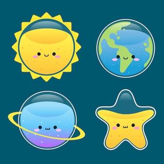 Simpatico pianeta, terra, sole e stelle sorridono