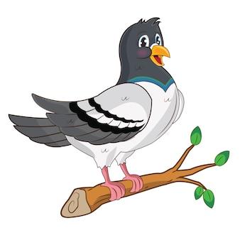 Simpatico piccione con un'espressione buffa