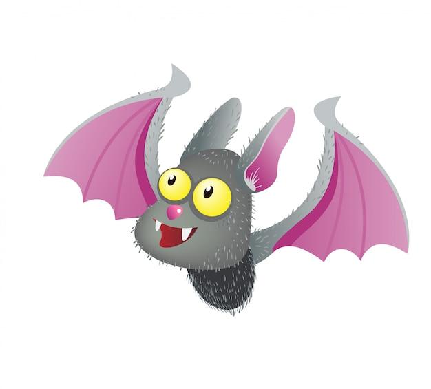 Simpatico pipistrello vampiro sorridente. illustrazione piana del personaggio dei cartoni animati di halloween.