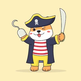 Simpatico pirata shiba inu cane