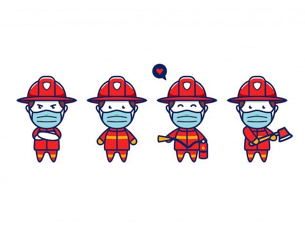Simpatico pompiere chibi con protezione per maschera facciale