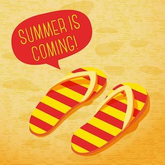 Simpatico poster estivo - pantofole sulla spiaggia, con nuvoletta per il tuo testo.