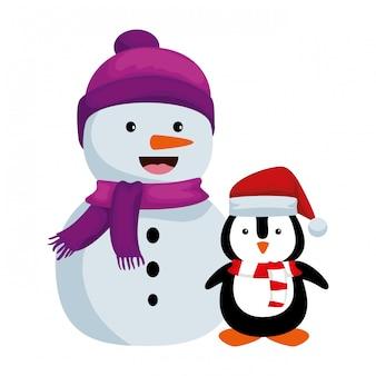 Simpatico pupazzo di neve con personaggi natalizi pinguino