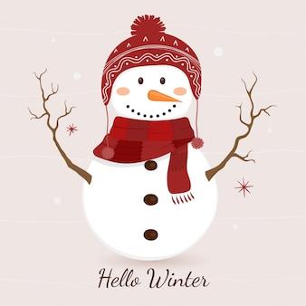 Simpatico pupazzo di neve in inverno