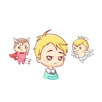 Simpatico ragazzino con angelo e demone sopra la sua testa