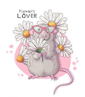 Simpatico ratto realistico con fiori.